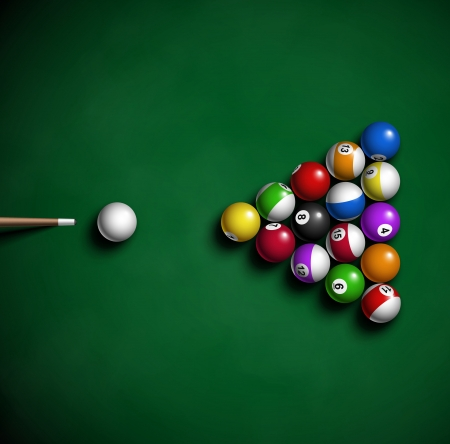game of pool: Billiard balls on table  Eps 10 Illustration