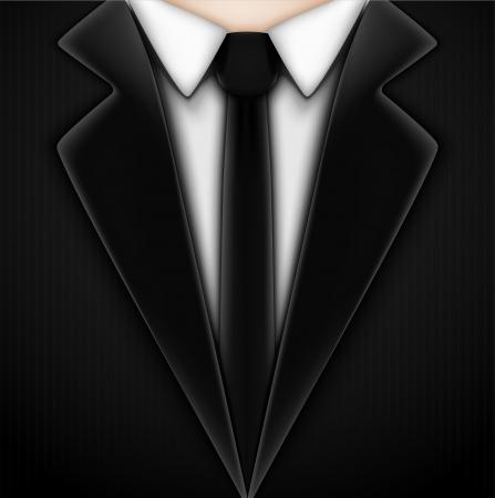black tie: Black tuxedo with tie  Eps 10