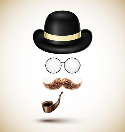 모자: 빈티지 액세서리 (모자, 안경, 수염과 담배 파이프). (10) 주당 순이익 일러스트