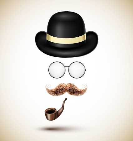 Vintage accessories (hat, glasses, mustache and tobacco pipe). Eps 10 Vector