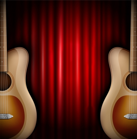Background with acoustic guitar and red curtain  Eps 10 Stock Vector - 17609946