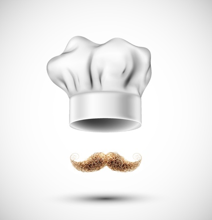 french cuisine: Accessories cook  hat and mustache   Eps 10