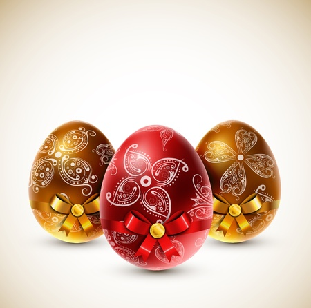 Easter eggs with bows Stock Vector - 17907607