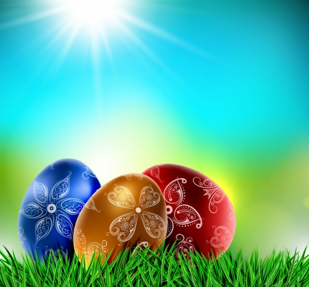 Easter eggs on natural background Stock Vector - 17907613