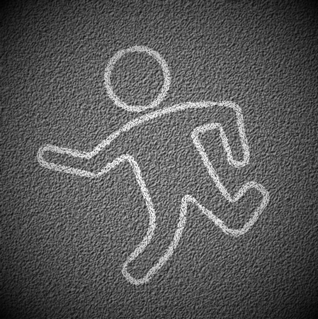killed: Silhouette of man on asphalt Illustration