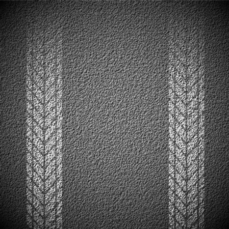 Asphalt background texture with traces of car tires Vector