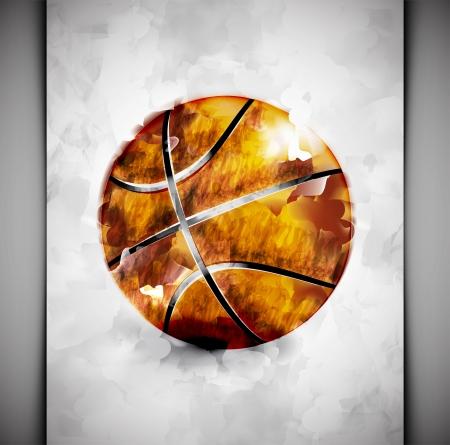 Basketbalový míč ve stylu akvarelu