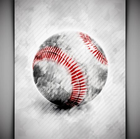beisbol: Bola de b�isbol en estilo acuarela