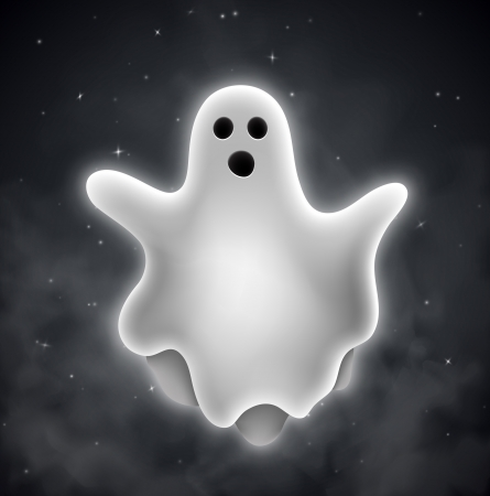 ghost cartoon: Flying ghost outdoors     Illustration
