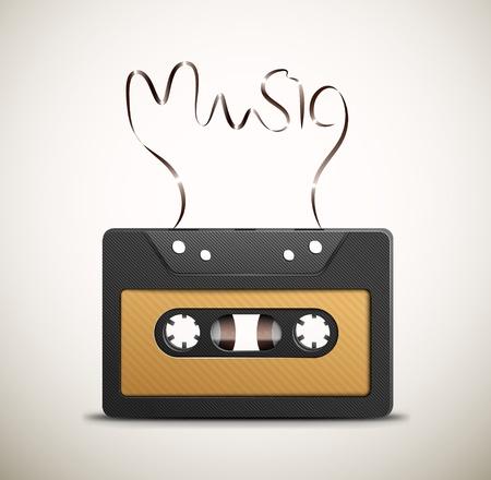 remix: Audio tape  retro music Illustration