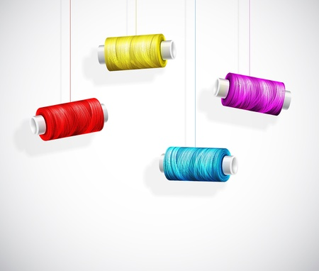 thread: Hanging bobbins of colorful thread  Eps 10