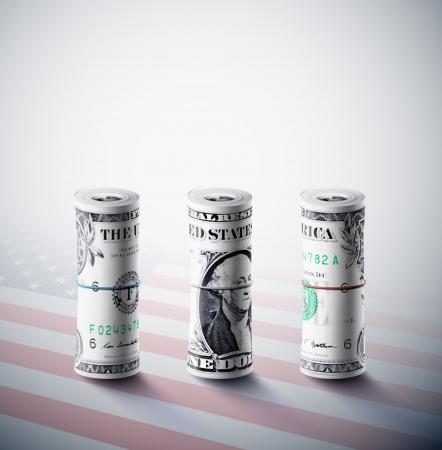Dollar in der Rolle auf den Hintergrund der amerikanischen Flagge Eps 10