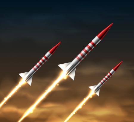 Flying rockets in night sky Vector