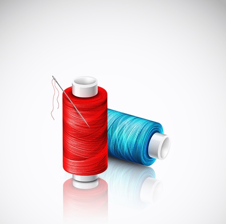 hilo rojo: Bobinas de hilo aislados Vectores