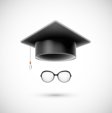 Student accessories  hat and glasses   Eps 10 Ilustrace