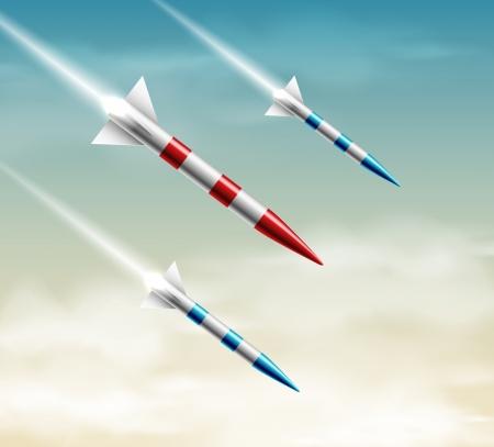 Three flying rockets  Illustration