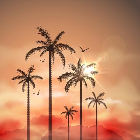 ヤシの木と熱帯の風景  イラスト・ベクター素材