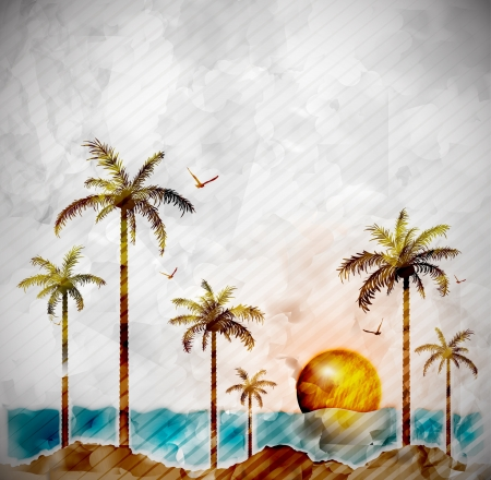 romantic getaway: Tropical landscape in watercolor style  Illustration