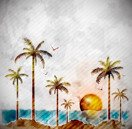Tropické krajiny ve stylu akvarelu Ilustrace