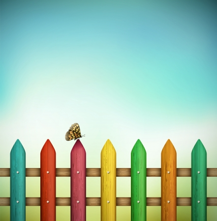 fence: Colorful fence with butterfly  Eps 10