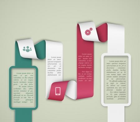 Paper banner template, info graphics  Vector