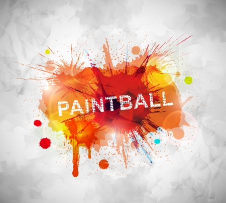 Colorful paintball banner  Illustration