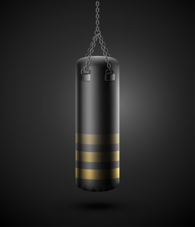 boxing sport: Black punching bag   Illustration