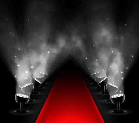Červený koberec s reflektory Ilustrace