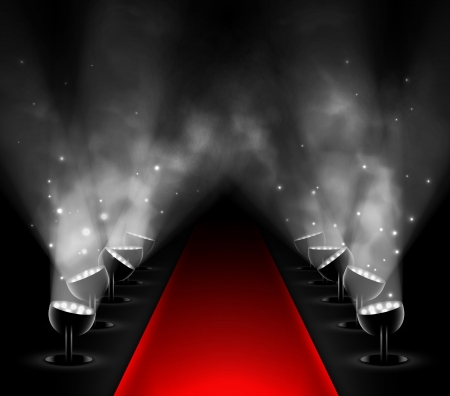 Red carpet with spotlights  Stock Vector - 19665447