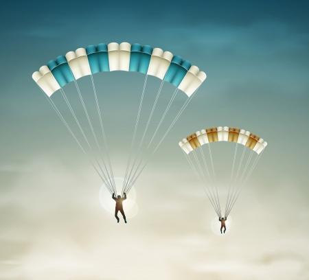 Dos paracaidistas en el cielo
