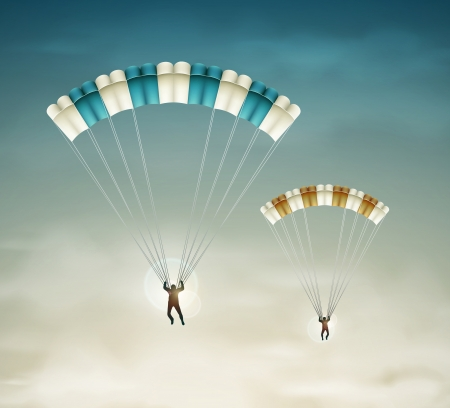 Two parachutists in sky    Vector