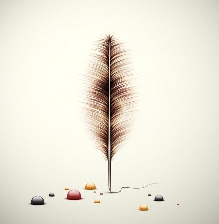 a poet: Pluma con gotas de tinta Vectores