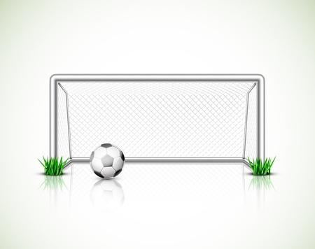 Obiettivo di calcio e palla isolato Archivio Fotografico - 20220746