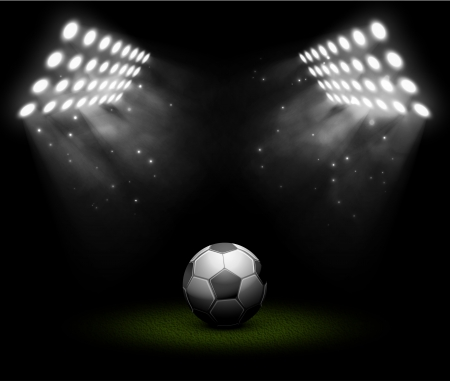 soccer ball on grass: Soccer ball in light of searchlights Illustration