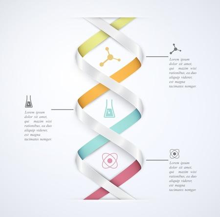 DNA 배너, 과학 인포 그래픽 일러스트