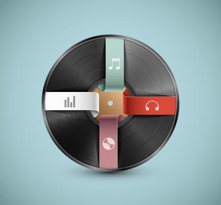 Vinyl record, infographic banner. Eps 10