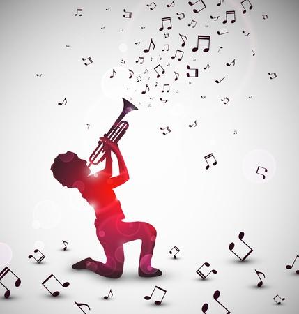 trompeta: Resumen de antecedentes con el trompetista. Ilustración contiene transparencias y mezcla efectos Vectores