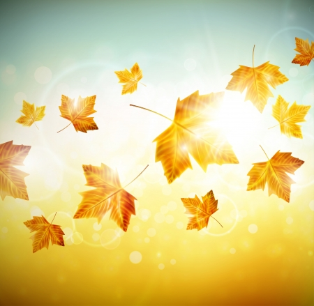 Autumn background with leaves. Illustration contains transparency and blending effects