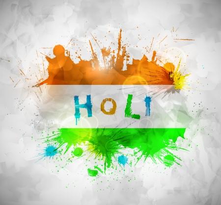 holi: Holi festival, grunge background. Illustration contains transparency and blending effects Illustration