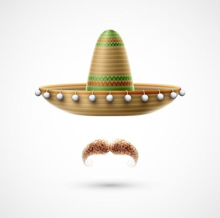 모자: 챙 넓은 모자와 수염 (멕시코 부속품). 일러스트 레이 션 투명성과 혼합 효과가 포함