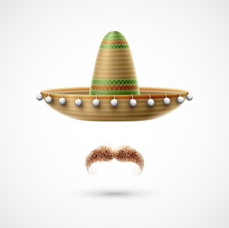 mexican culture: Sombrero and mustache (Mexican accessories). Illustration contains transparency and blending effects Illustration