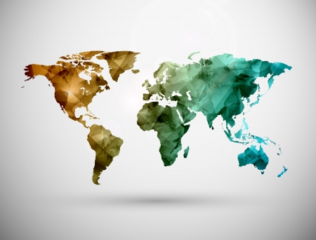 Mapa světa, grunge. Ilustrace obsahuje průhlednost a prolnutí efektů