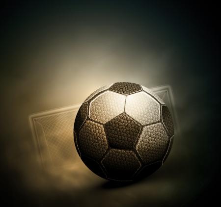 ボール: 暗いサッカーの背景