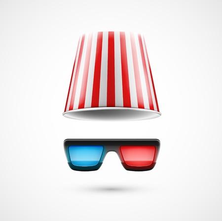 Zubehör Filmfan 3D-Brille und Tasche Popcorn Illustration