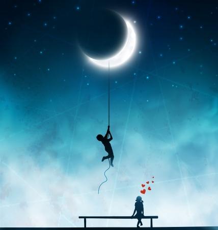 romantik: Amorösa bedrifter, kärlek bakgrund Illustration