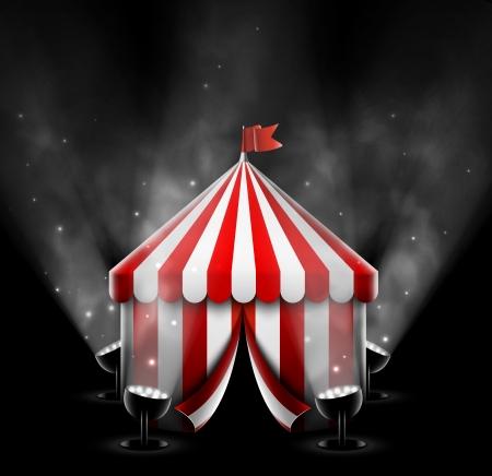 スポット ライトとサーカスのテント