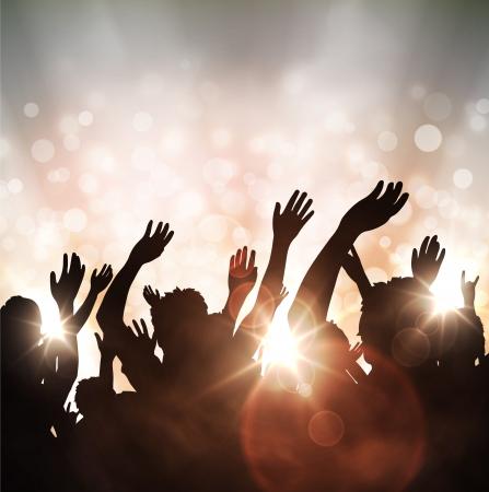 concierto de rock: Fondo festivo con siluetas de personas