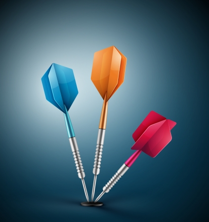 darts: three darts at target Illustration