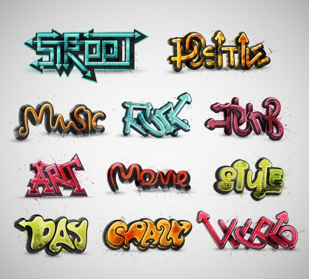 Set of graffiti, grunge, eps 10 Vector