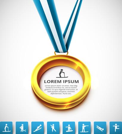 conquistando: Medalla de oro con iconos de los deportes, eps 10 Vectores